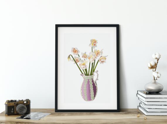 illustrazione floreale di un vaso di narcisi