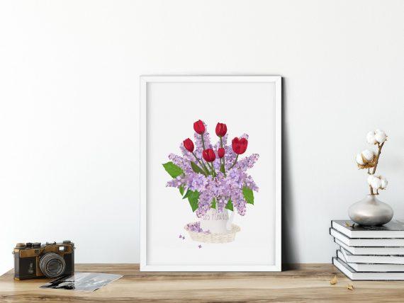 illustrazione floreale di lillà e tulipano